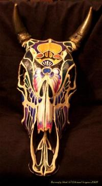 The Butterfly Skull - Painted Cow Skull